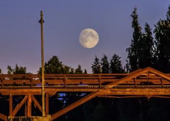 Augustimåne över Lejonströmsbron